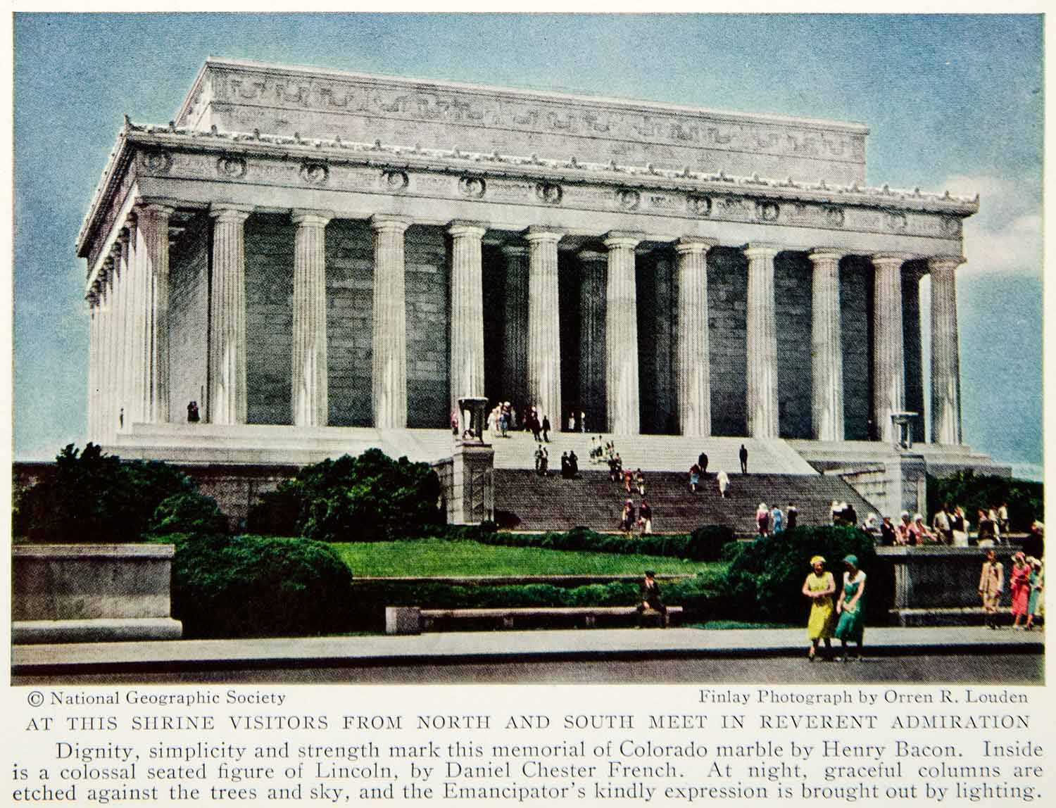 1935 Color Print Lincoln Monument Memorial Exterior Washington D.C. Image NGMA6
