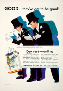 1931 Advert Chesterfield Cigarettes Tobacco Fred Jazz Hands Pack Smokes Top NMM1