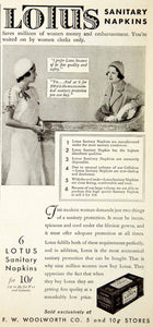 1931 Ad Lotus Sanitary Napkins Feminine Hygiene Products Woolworth NMM1