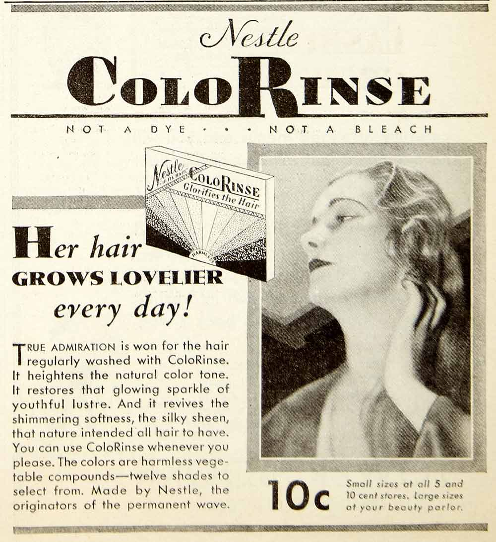 1931 Advert Nestle ColoRinse Haircare Tint Beauty Silky Sheen Wash Colorant NMM1