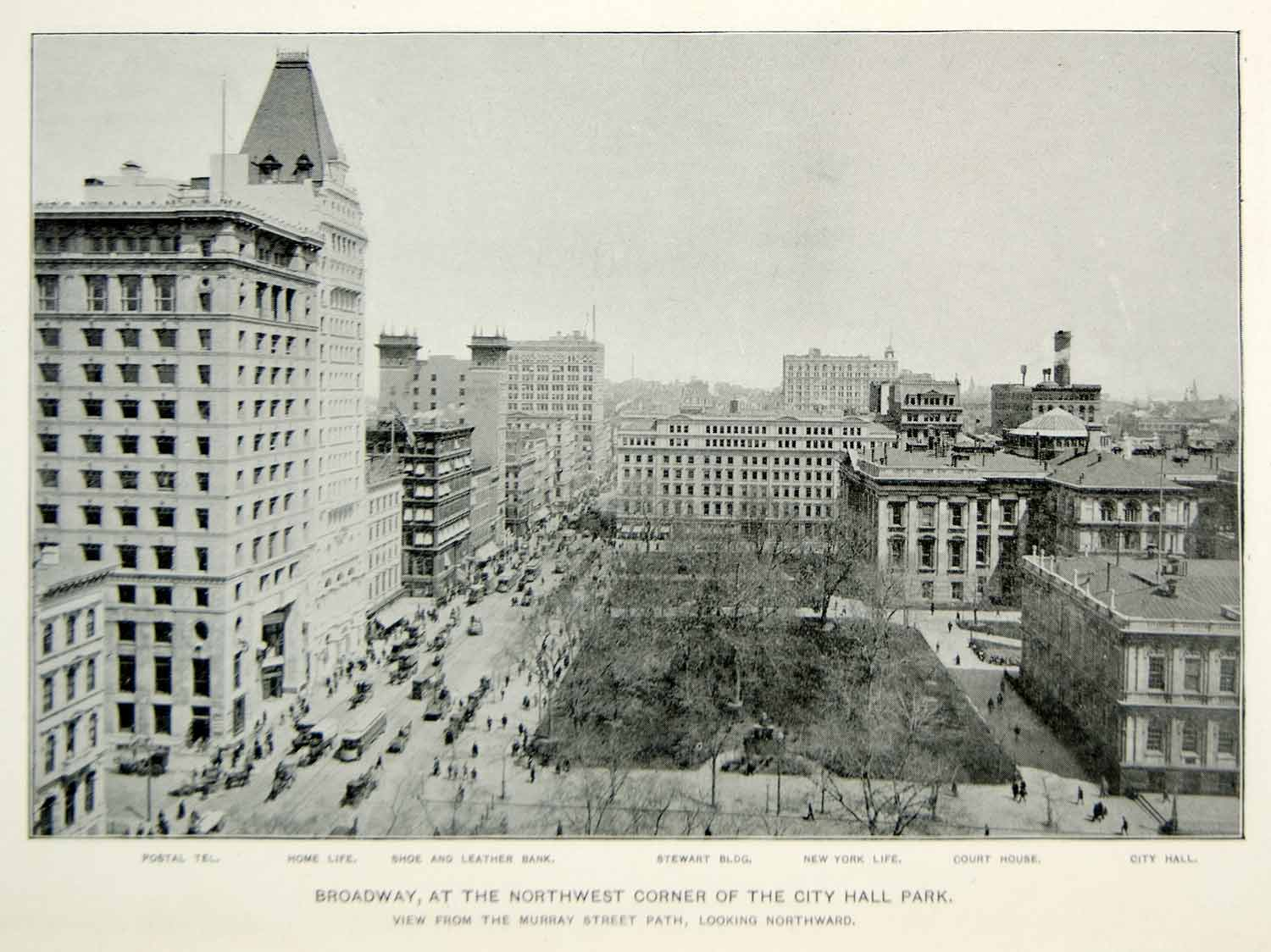 1893 Print Broadway New York City Hall Park Street Buildings Historic Image NY2A