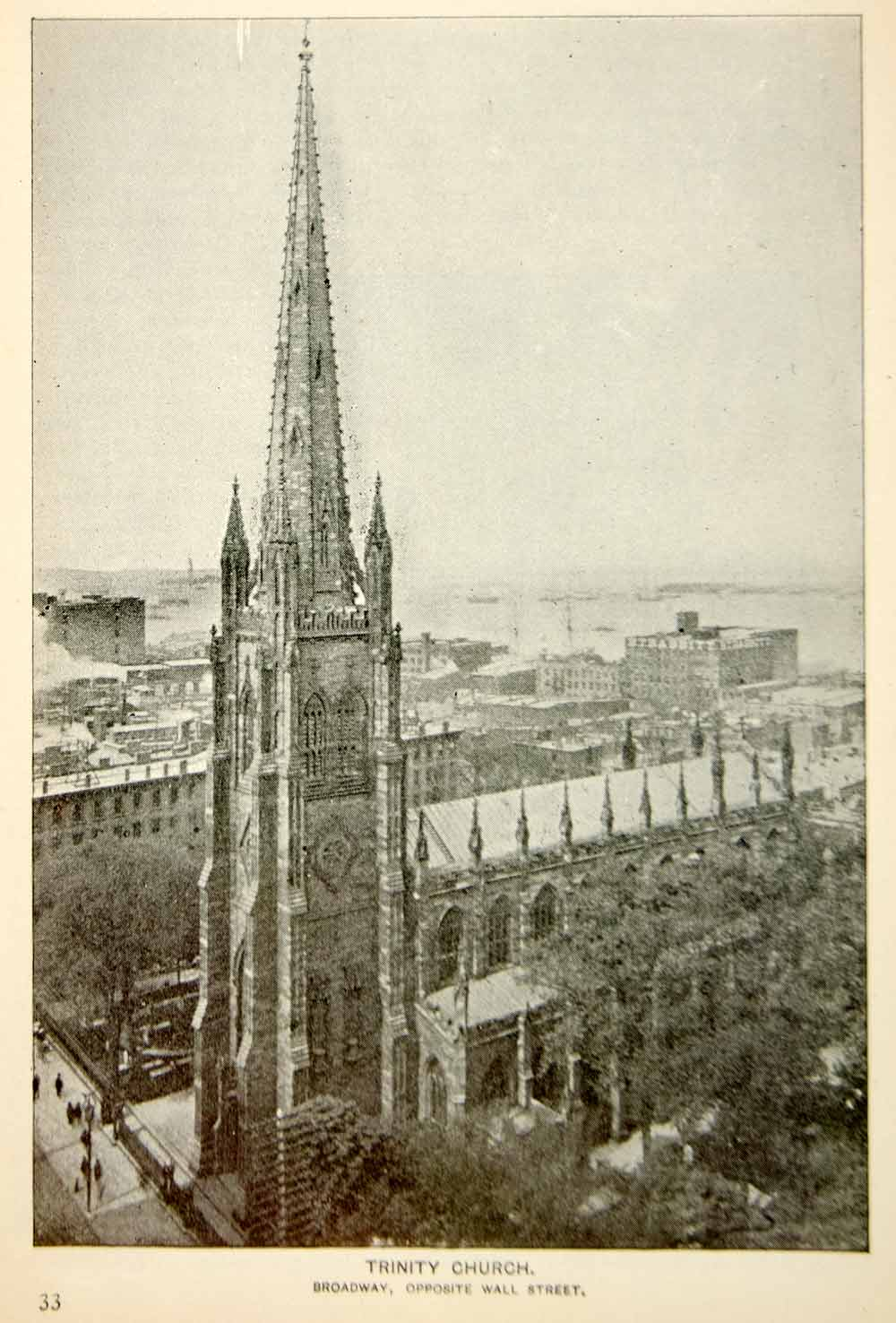 1893 Print Trinity Church Spire Steeple Episcopal New York City Historic NY2A
