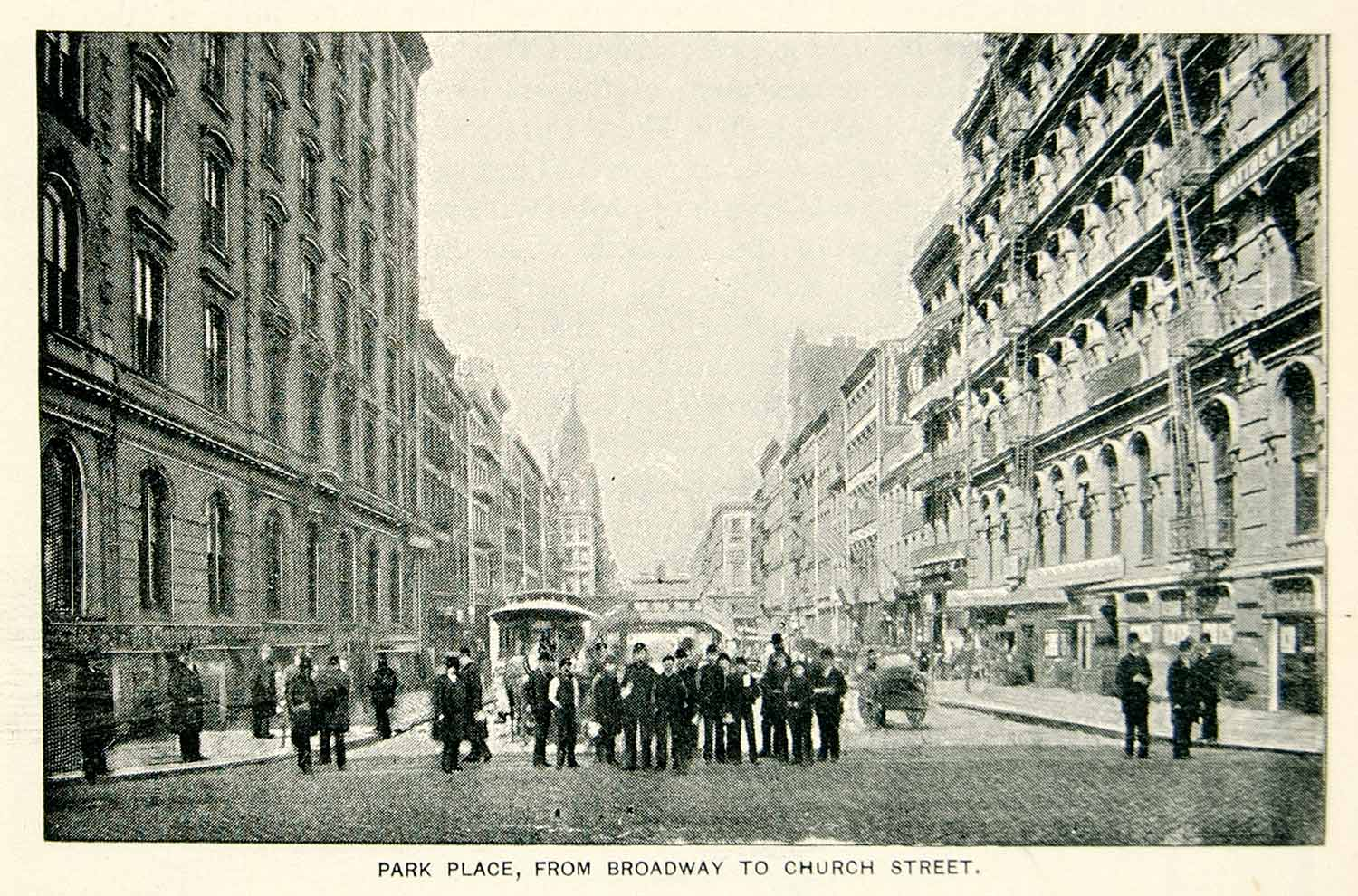 1893 Print Park Place New York City Street Pedestrians Historic Image View NY2A