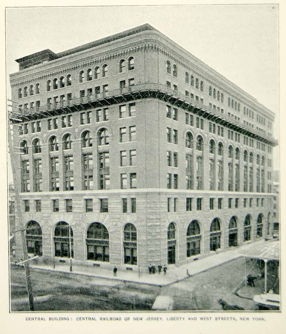 1893 Print Central Railroad of New Jersey Building New York City Historic NY2A