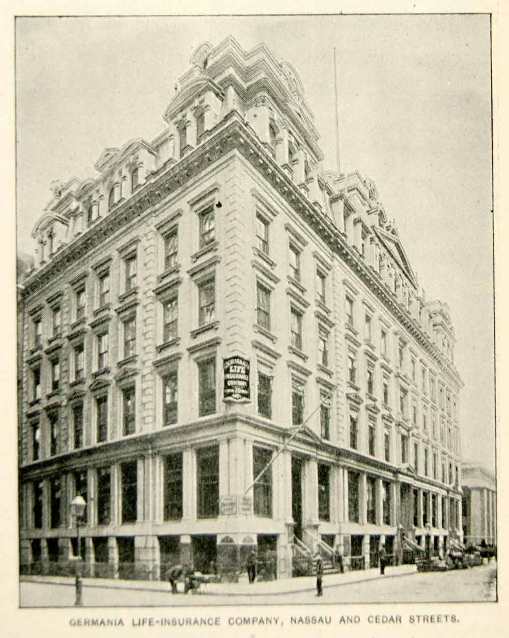 1893 Print Germania Life Insurance Building Nassau Cedar St. New York City NY2A