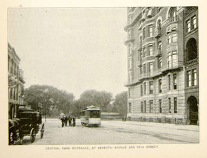 1893 Print Central Park Entrance Seventh Ave 59th St NYC Streetcar Historic NY2A