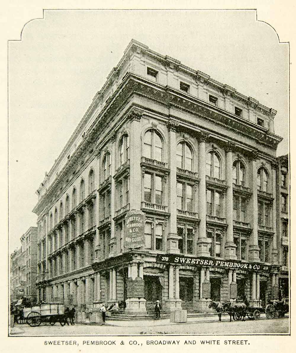 1893 Print Sweetser Pembrook Dry Goods Building 374 Broadway New York City NY2A