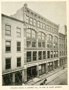 1893 Print Ansonia Brass & Copper Office Building 19 21 Cliff Street NYC NY2A