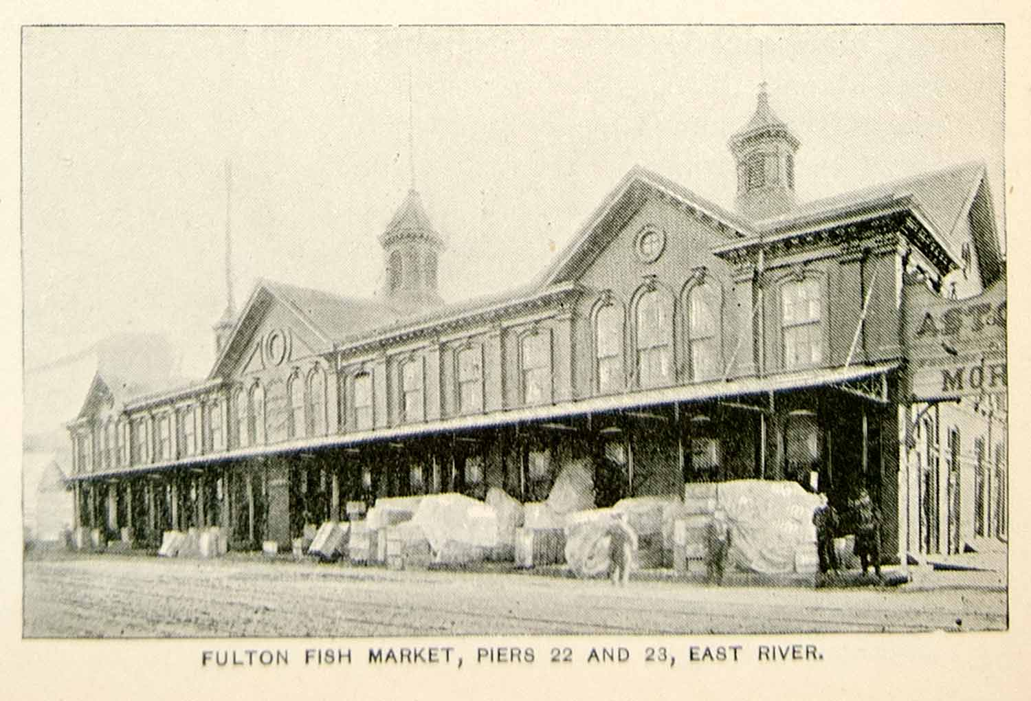 1893 Print Fulton Fish Market Pier 22 23 East River New York City Historic NY2A