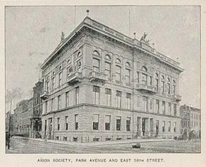 1893 Print Arion Society Park Avenue New York City NYC ORIGINAL HISTORIC NY2