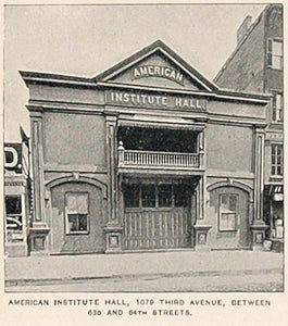 1893 Print American Institute Hall Third Ave. New York ORIGINAL HISTORIC NY2