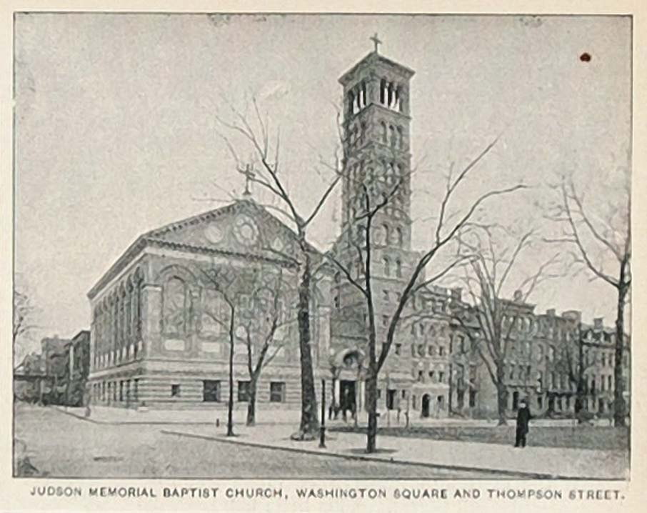 1893 Print Judson Memorial Baptist Church New York City ORIGINAL HISTORIC NY2