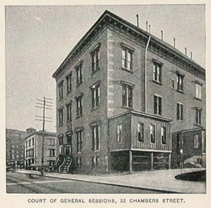 1893 Print Court of General Sessions Chambers St. NYC ORIGINAL HISTORIC NY2