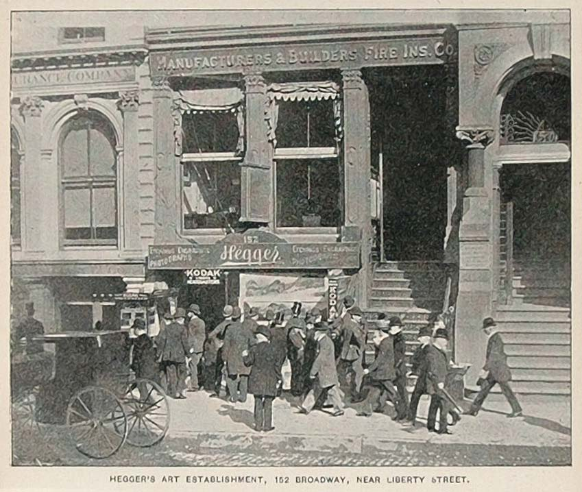 1893 Print Hegger's Art Store 152 Broadway New York NYC ORIGINAL HISTORIC NY2