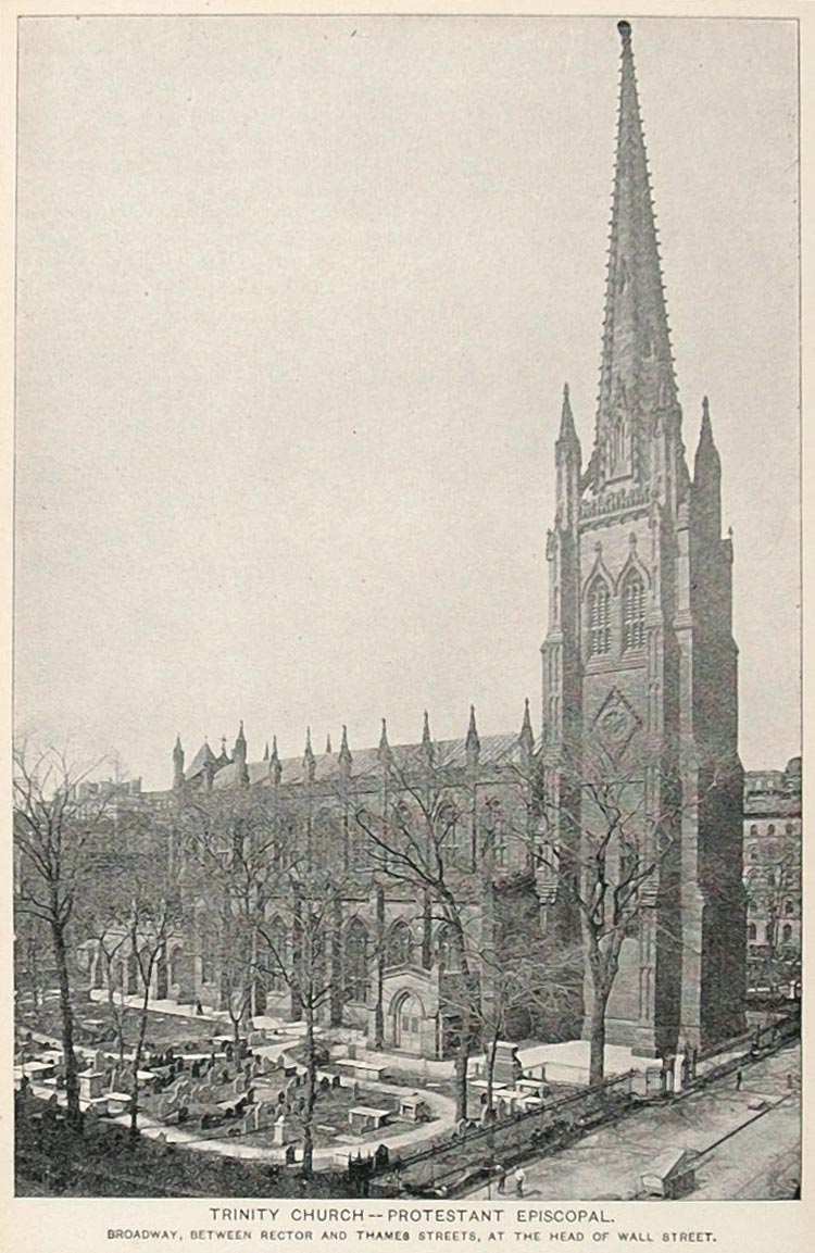 1893 Print Trinity Church Protestant Episcopal New York ORIGINAL HISTORIC NY2