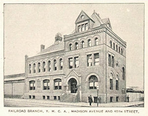 1893 Print Railroad Branch YMCA Madison Ave. New York ORIGINAL HISTORIC NY2