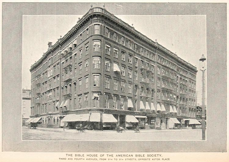 1893 Print American Bible House Building New York City ORIGINAL HISTORIC NY2