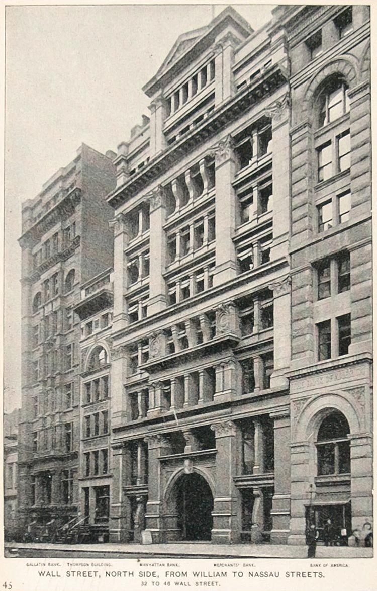 1893 Print North Side Wall Street Buildings New York - ORIGINAL HISTORIC NY2