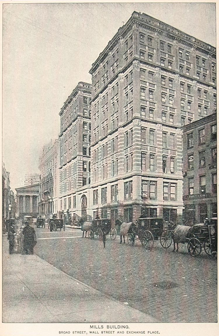 1893 Print Mills Building Broad Street New York City - ORIGINAL HISTORIC NY2