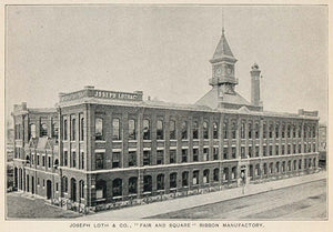 1893 Print Joseph Loth Ribbon Factory New York City - ORIGINAL HISTORIC NY2