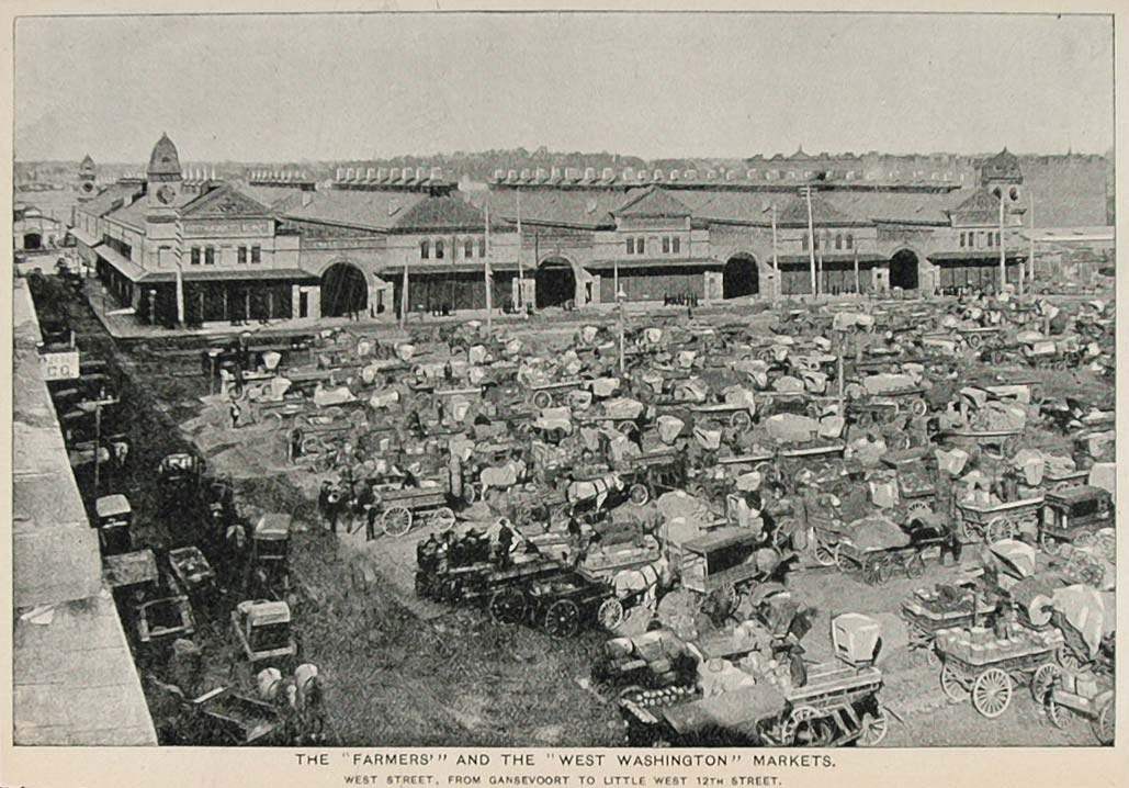1893 Print Farmers West Washington Market New York City ORIGINAL HISTORIC NY2