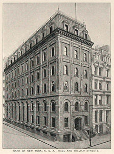 1893 Print Bank of New York Wall William Streets NYC - ORIGINAL HISTORIC NY2
