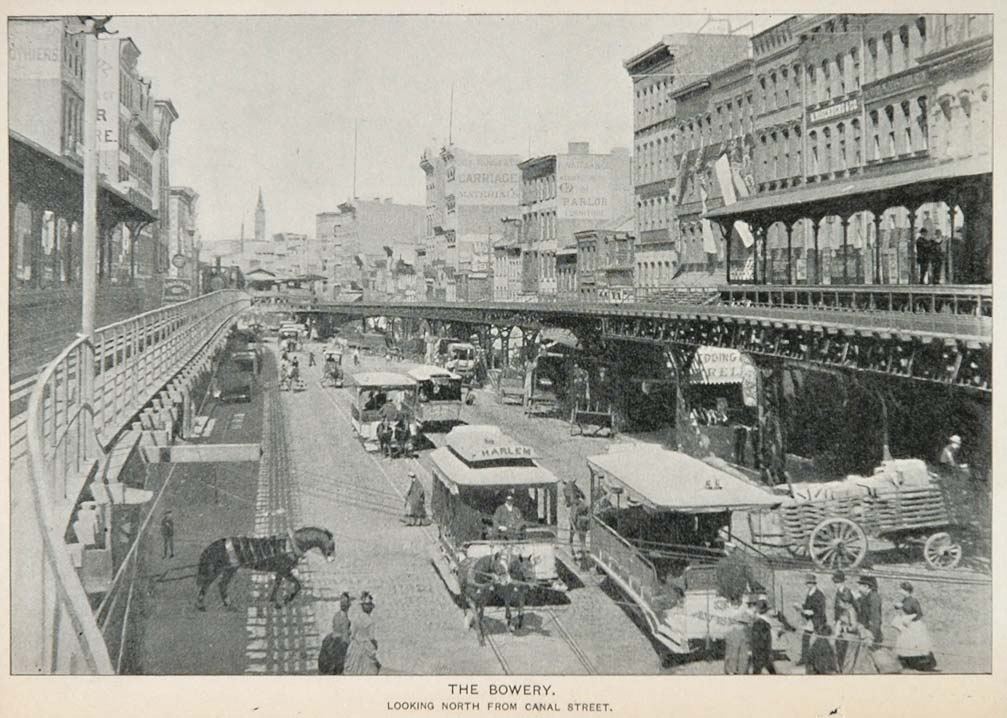 1893 Print Bowery Streetcar Elevated Train Track NYC - ORIGINAL HISTORIC NY2