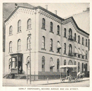 1893 Print Demilt Dispensary Second Avenue New York - ORIGINAL HISTORIC NY2