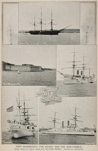 1893 Print White Squadron War Ships Fort Wadsworth New York City American NY2