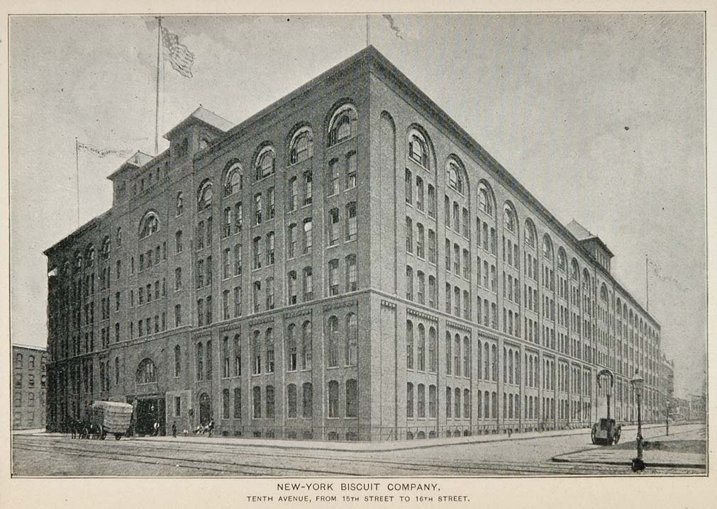 1893 Print New York Biscuit Company Building NYC City ORIGINAL HISTORIC NY2