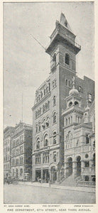 1893 Print New York City Fire Department 67th Street - ORIGINAL HISTORIC NY2