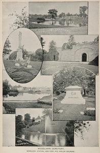 1893 Print Woodlawn Cemetery Monument Lake Fountain NYC ORIGINAL HISTORIC NY2
