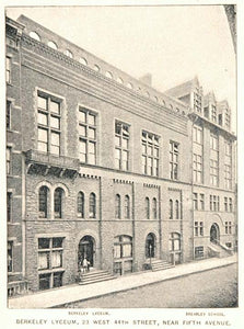 1893 Print Berkeley Lyceum Building New York City NYC ORIGINAL HISTORIC NY2