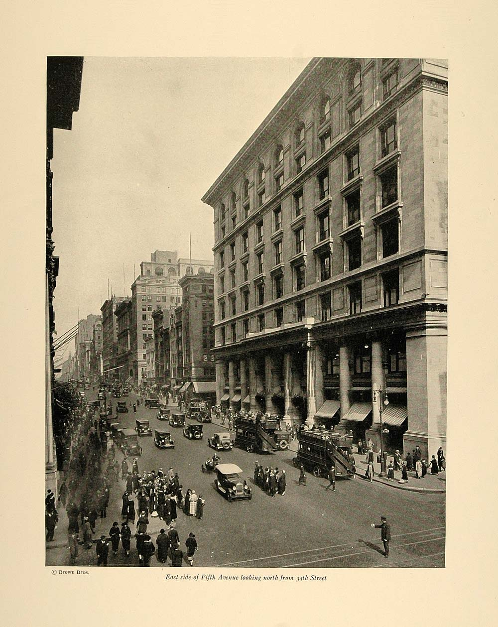 1924 Print East Side Fifth Avenue from 34th Street NYC ORIGINAL HISTORIC NY4
