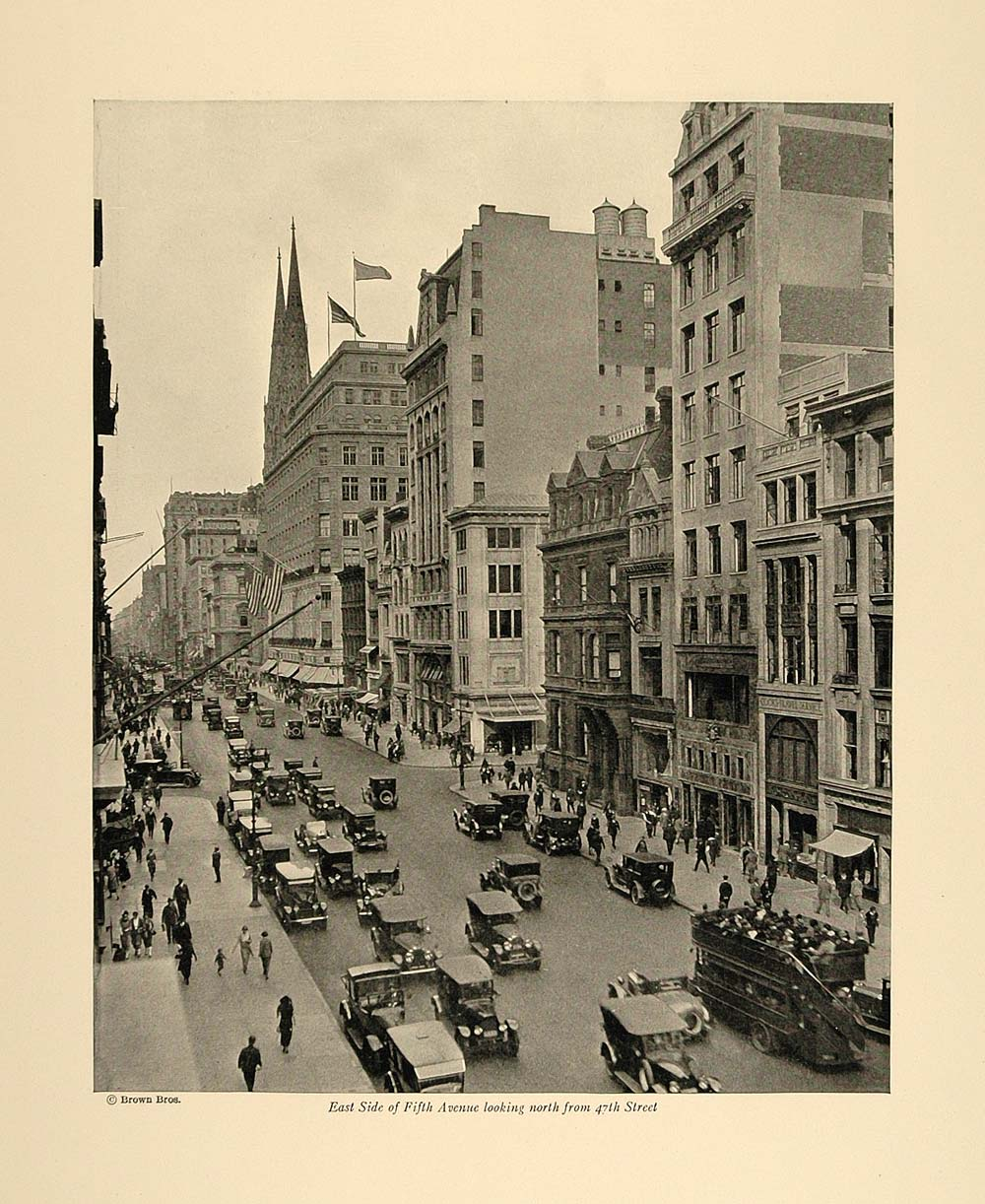 1924 Print East Side Fifth Avenue from 47th Street NYC ORIGINAL HISTORIC NY4