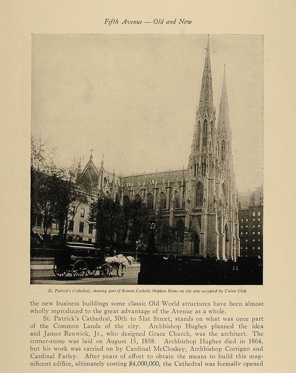 1924 Print St. Patrick's Cathedral Church Fifth Avenue ORIGINAL HISTORIC NY4