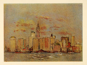 1909 Pennell New York City Battery Skyline NYC Print - ORIGINAL NY5