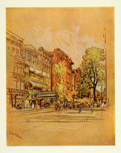 1909 Joseph Pennell Second Avenue New York NYC Print - ORIGINAL NY5