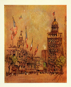 1909 Pennell New York City Hall World Building Print - ORIGINAL NY5