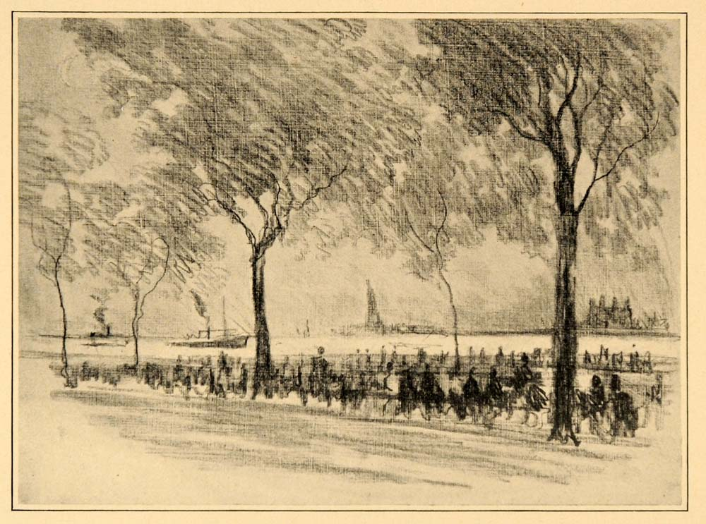 1909 Pennell Battery Islands New York Harbor NYC Print ORIGINAL HISTORIC NY5