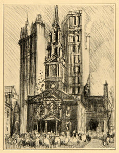 1909 Joseph Pennell St. Paul's Chapel Church NYC Print ORIGINAL HISTORIC NY5