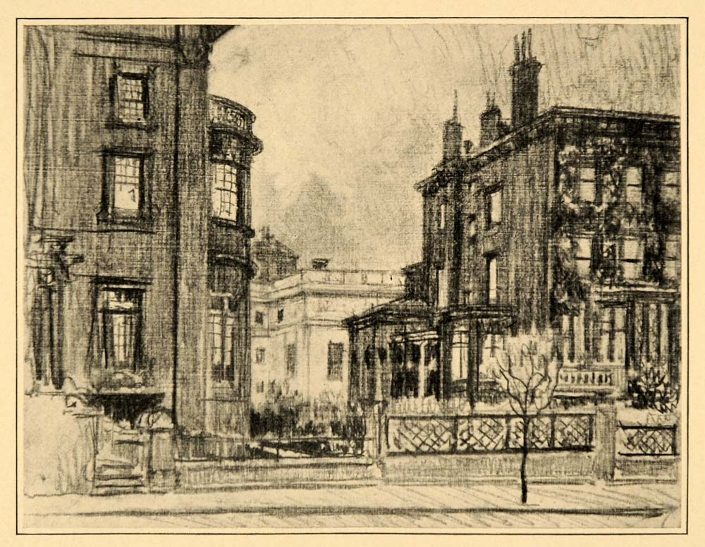 1909 Pennell Madison Avenue Houses New York City Print ORIGINAL HISTORIC NY5