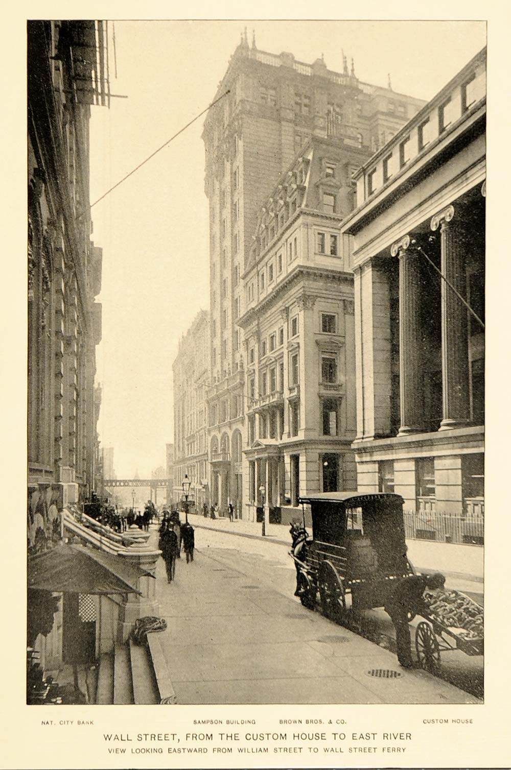 1897 Wall Street Customs House East River NYC Print - ORIGINAL HISTORIC NY7