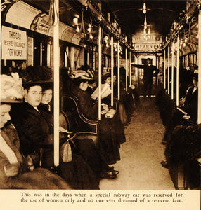 1948 Photogravure New York City Subway Car Victorian Ladies Transportation