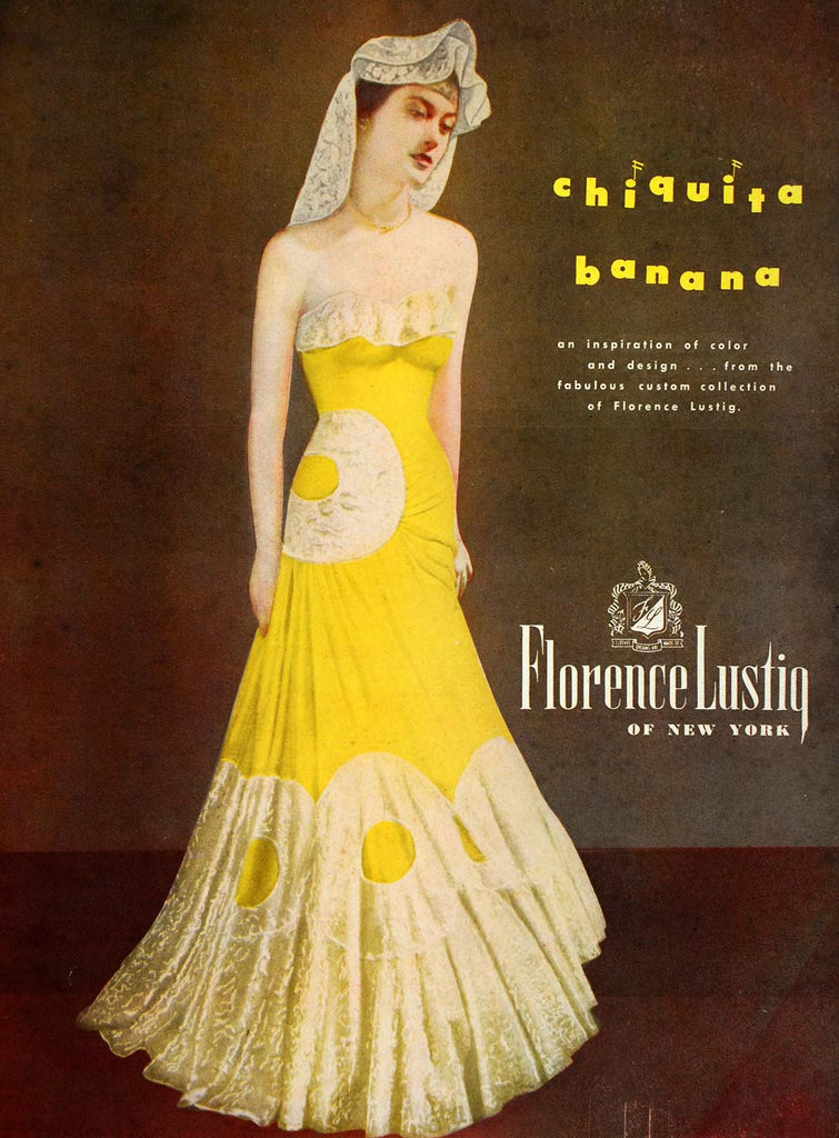 1948 Ad Florence Lustig Fashion Designer Vintage Yellow Evening Gown ...