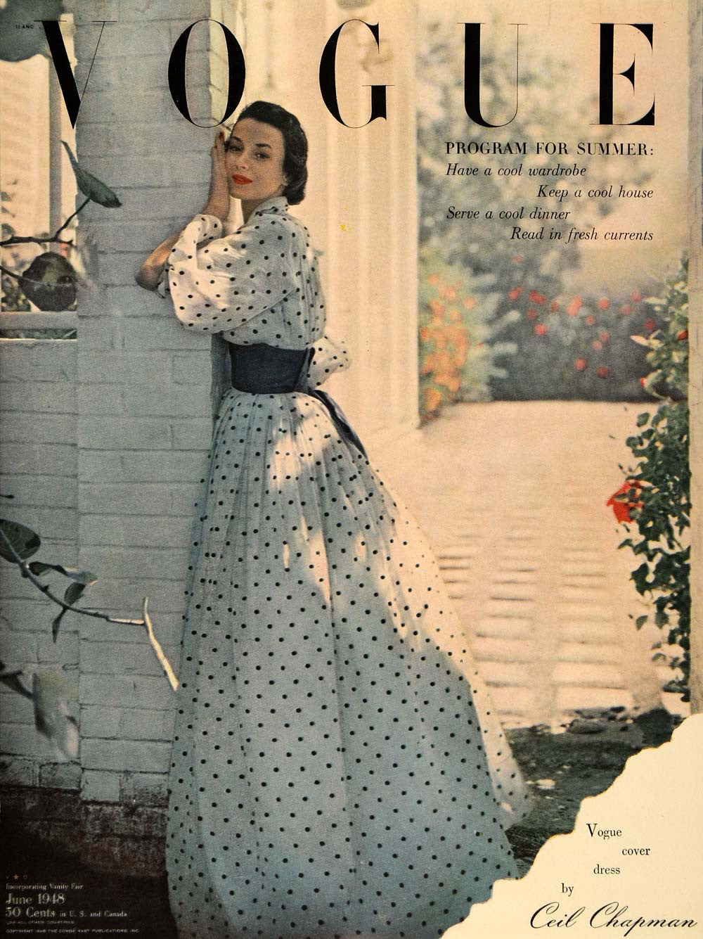 1948 Ad Vogue Magazine Vintage Summer Dress Gown Ceil Chapman Fashion Women