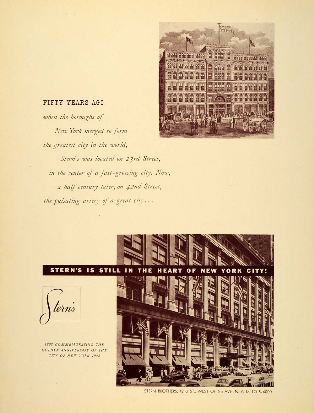 1948 Ad Vintage Stern Brothers Department Store Building New York City Historic