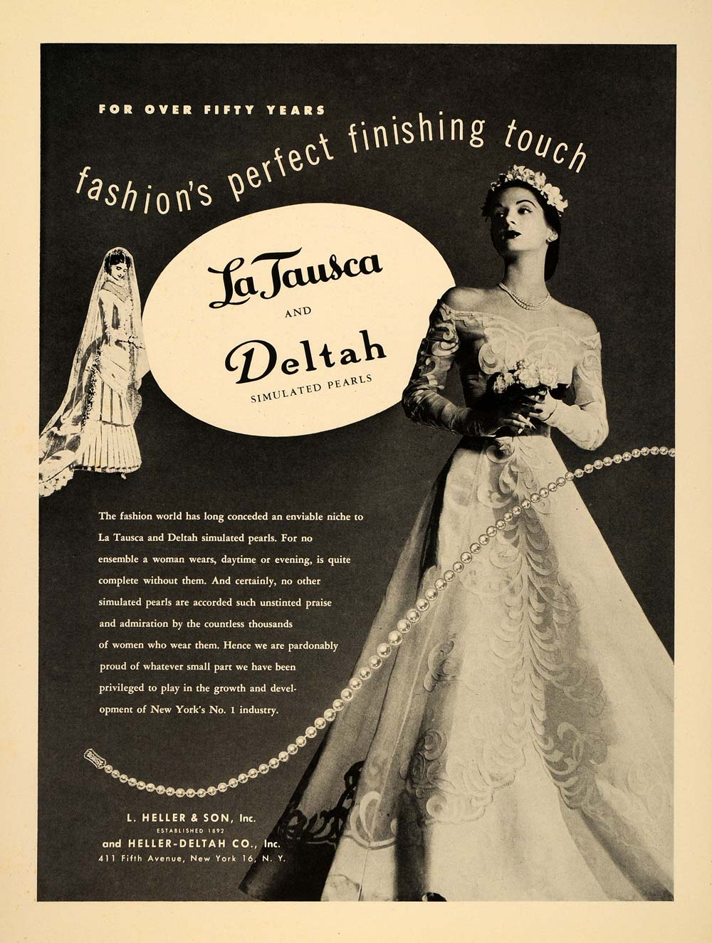 1948 Ad Vintage La Tausca Deltah Simulated Pearls Jewelry Bride Wedding Dress