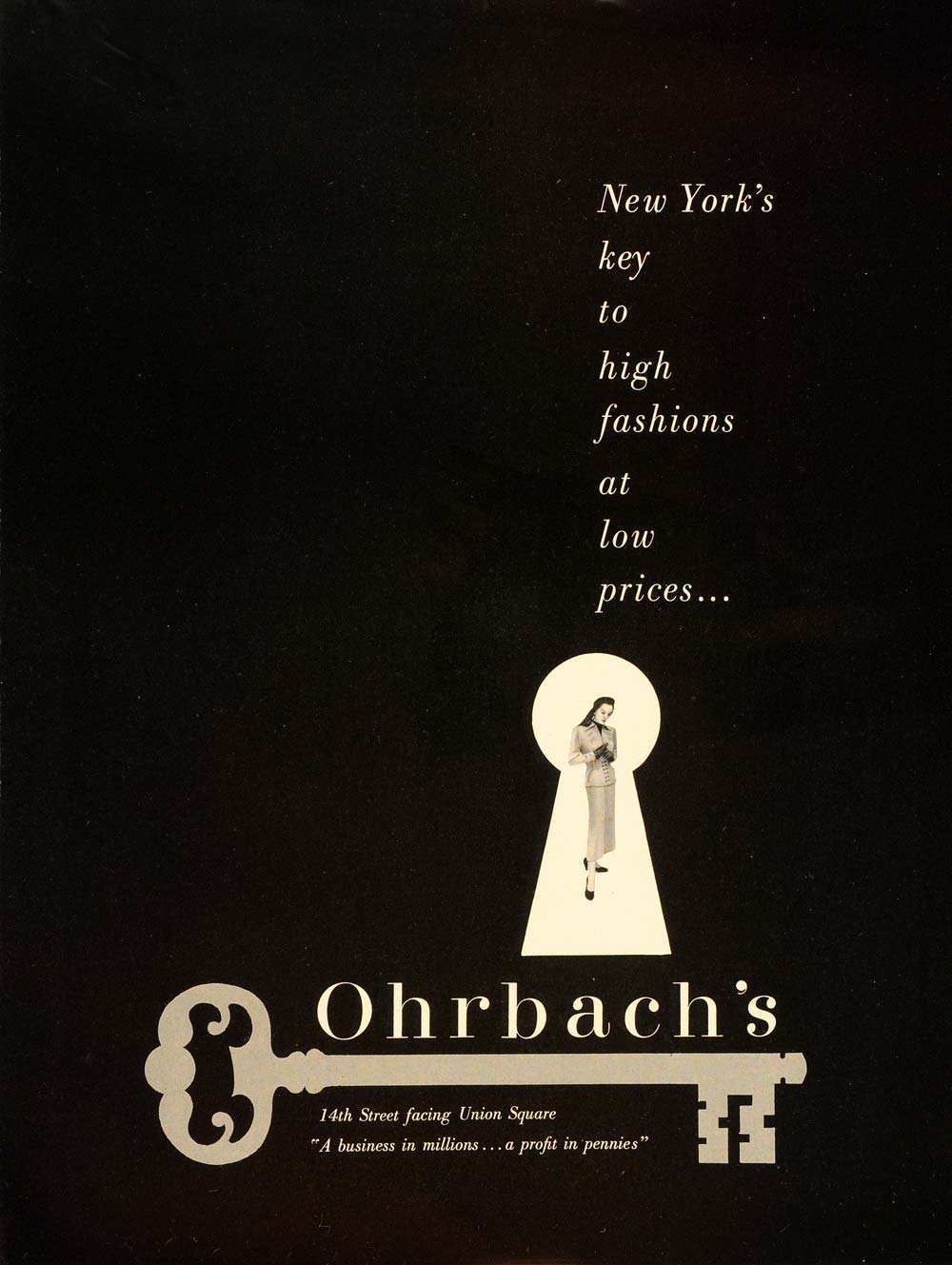 1948 Ad Vintage Ohrbach's Department Store New York City 14th St. Key Keyhole