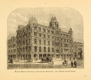 1872 YMCA Building New York City Architecture 23rd St. ORIGINAL HISTORIC NY9
